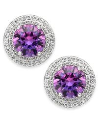 Arabella | Metallic Purple And White Swarovski Zirconia Stud Earrings In Sterling Silver | Lyst