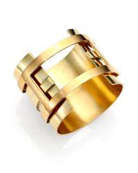 Aesa - Metallic Double Bar Clutch Cuff Bracelet - Lyst