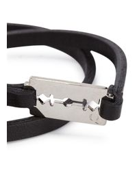 McQ - Black Razor Leather Wrap Bracelet - Lyst