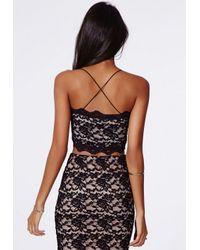 Missguided - Beatie Strappy Cross Back Scallop Lace Bralet Black - Lyst