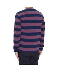 Visvim Blue Big Border Long Sleeves T-shirt for men