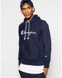 Blue Script In Men With Lyst Hoodie Logo Champion For HUf6x6