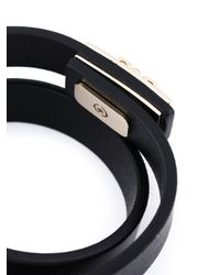 Ferragamo Black Gancio Wrap Around Bracelet