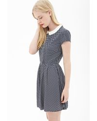 Forever 21 | Blue Dotted Peter Pan Collar Dress | Lyst