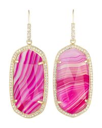 Kendra Scott | Small Pave-Trim Pink Agate Drop Earrings | Lyst