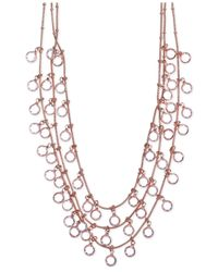 Anne Klein | Pink Rose Gold-tone Shaky Crystal Three-row Necklace | Lyst