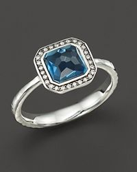 Ippolita | Metallic Sterling Silver Stella Ring In London Blue Topaz With Diamonds, 0.11 Ct. T.W. | Lyst