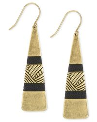 The Sak | Metallic Gold-tone Black Thread Paddle Drop Earrings | Lyst