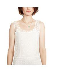 Ralph Lauren | Natural Fringed Lace Sleeveless Dress | Lyst