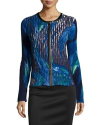 Alberto Makali Blue Textured Zip-Front Printed Cardigan