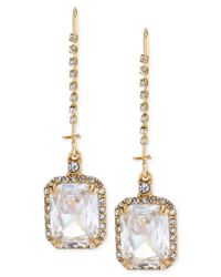 Betsey Johnson - Metallic Gold-Tone Square Stone And Crystal Drop Earrings - Lyst