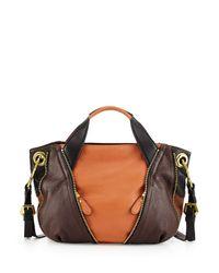 orYANY - Brown Lian Small Zip Leather Satchel Bag - Lyst
