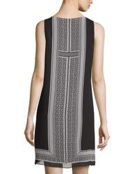 Max Studio Gray Sleeveless Printed A-line Dress