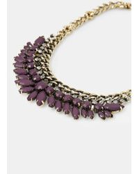 Violeta by Mango | Metallic Rhinestone Chain Chocker | Lyst