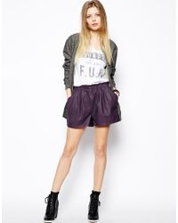 ASOS Purple Leather Shorts with High Waist Detail
