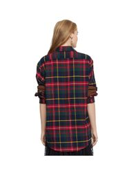Polo Ralph Lauren Red Suede-Elbow-Patch Plaid Shirt