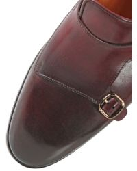 Santoni Red Hand-Painted Leather Monk Strap Loafers for men