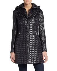 Dawn Levy - Black Quilted Faux Leather-detail Jacket - Lyst