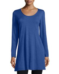 Eileen Fisher | Blue Long-sleeve A-line Jersey Tunic | Lyst