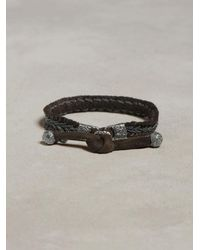 John Varvatos | Metallic Braided Leather Bracelet for Men | Lyst