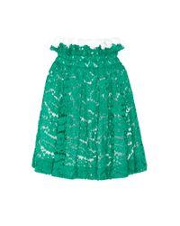N°21 - Green Glory Top Ruffle Lace Skirt - Lyst