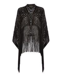 Biba | Black Deco Burnout Kimono | Lyst