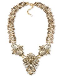 Carolee | Metallic Top Of The Rock Gold-tone Brown Stone Drama Necklace | Lyst