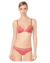 Calvin Klein | Pink Modern Signature Lace-trimmed Push Up Bra | Lyst