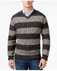 Weatherproof | Gray Vintage Striped Cable-knit V-neck Sweater for Men | Lyst