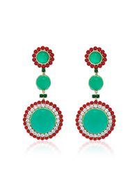 Abellan New York - Multicolor One Of A Kind Chrysoprase, Burma Ruby And Diamond Earrings . - Lyst