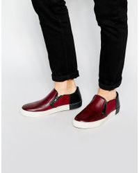 Dune | Purple Leather Taxi Plimsolls for Men | Lyst