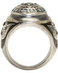 Diesel Black Gold | Metallic Silver And Black Angelino Crest Ring for Men | Lyst