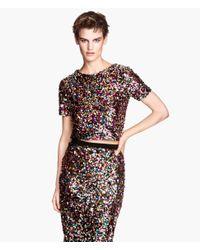 H&M Black Short Sequined Top