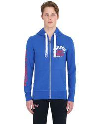 Superdry Blue Hooded Zip Up Cotton Blend Sweatshirt for men