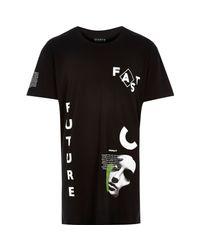 River Island - Black Systvm Statement Longling T-shirt for Men - Lyst