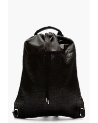 93a682b4aa3f Lyst - Kris Van Assche Black Croc Etched Leather Backpack in Black ...