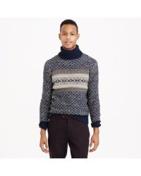 J.Crew Blue Donegal Wool Fair Isle Turtleneck Sweater for men