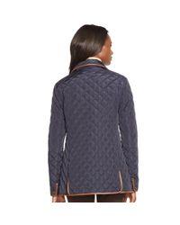 Ralph Lauren - Blue Faux Leather–trim Jacket - Lyst