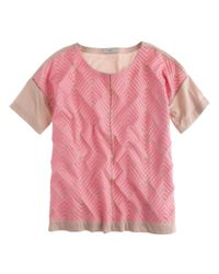 J.Crew | Pink Embroidered Herringbone T-shirt | Lyst