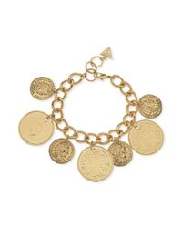 Guess - Metallic Goldtone Chain Coin Bracelet - Lyst
