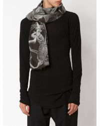 Lost & Found - Black Skeletons Print Scarf - Lyst