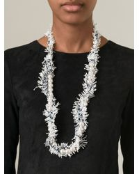 Lanvin   White Fluffy Necklace   Lyst