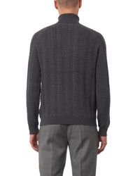 Gieves & Hawkes Gray Cable-Knit Roll-Neck Sweater for men