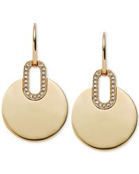 Michael Kors | Metallic Gold-tone Crystal Disc Drop Earrings | Lyst