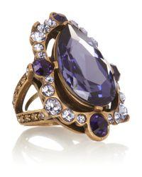 Oscar de la Renta Purple Goldplated Crystal Ring