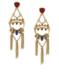 BCBGeneration   Metallic Gold-tone Drama Stone And Chain Drop Earrings   Lyst