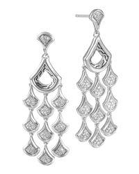 John Hardy | Metallic Silver Diamond Scale Chandelier Earrings | Lyst