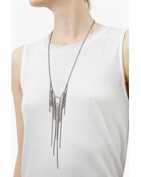 French Connection Metallic Laddered Fringe Necklace