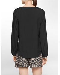 Calvin Klein | Black White Label Faux Leather Trim V-notch High Low Long Sleeve Top | Lyst