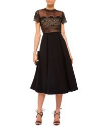 Self-Portrait Black Felicia Embroidered Sheer Lace Dress